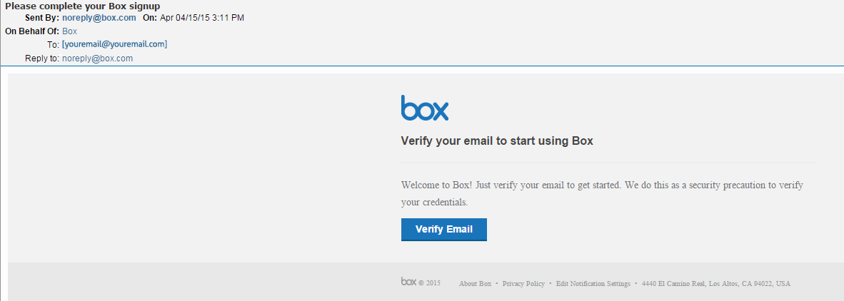 image of verification email
